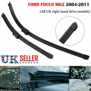 MK2-2004-2011-FORD-FOCUS-FLAT-AERO-FRONT-WINDSCREEN-WIPER-BLADES-26-034-17-034-INCHES