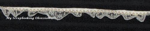 You choose colour per metre Card Making PEARL TRIM WITH LACE 18mm RIBBON