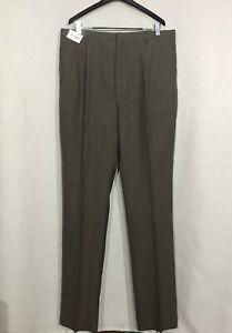 NWT-Towncraft-42-x-42-Brown-Plaid-Dress-Pants-Work-Slacks-Full-Length-Unhemmed