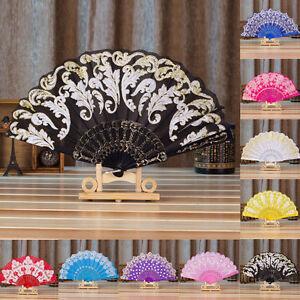 Stile-cinese-Danza-Festa-Matrimonio-Pizzo-Seta-Pieghevole-Portatile-Fiore-Fan-BELLA