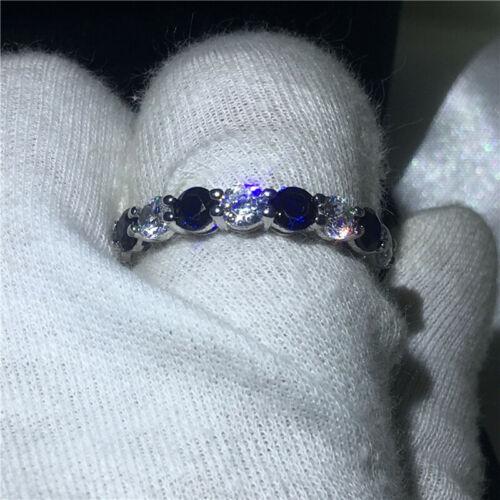 2Ct Round Blue Sapphire Full Eternity Wedding Band Ring 18K White Gold Finish