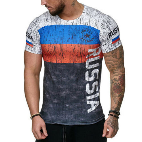 Men Sports Slim Fit T-Shirt Short Sleeve Letter Russia Portugal Germany Summer