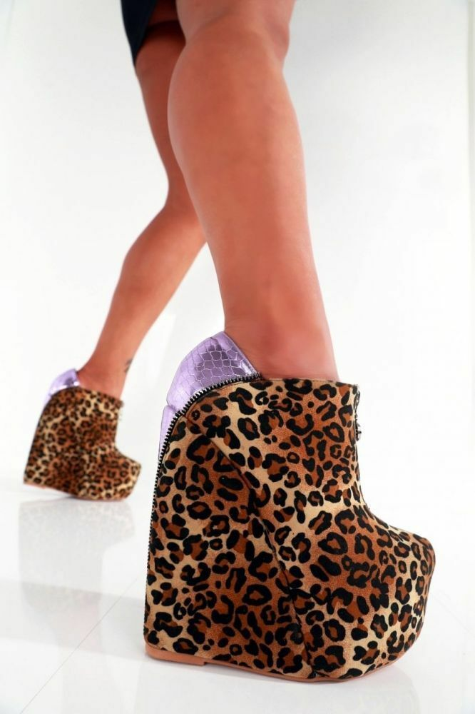 GIARO Talons Hauts Chaussures UK 4 4.5 EU37 Zip TALONS COMPENSES LEOPARD sexy fetish CD Pleaser