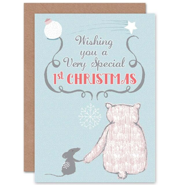 Special 1st Christmas Blue Blank Greeting Card With Envelope