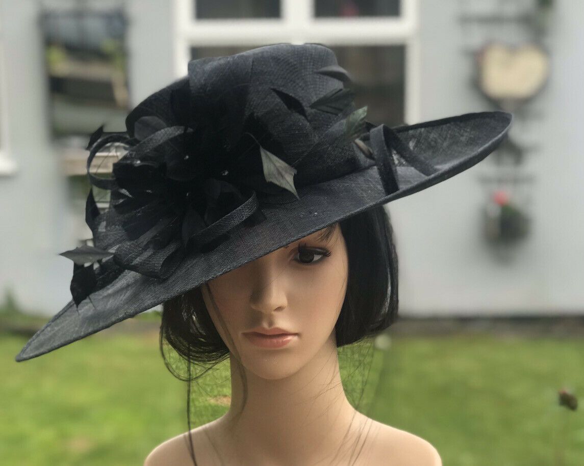 LADIES BLACK WEDDING HAT FORMAL MOTHER OF THE BRIDE MOTHER OF THE BRIDE