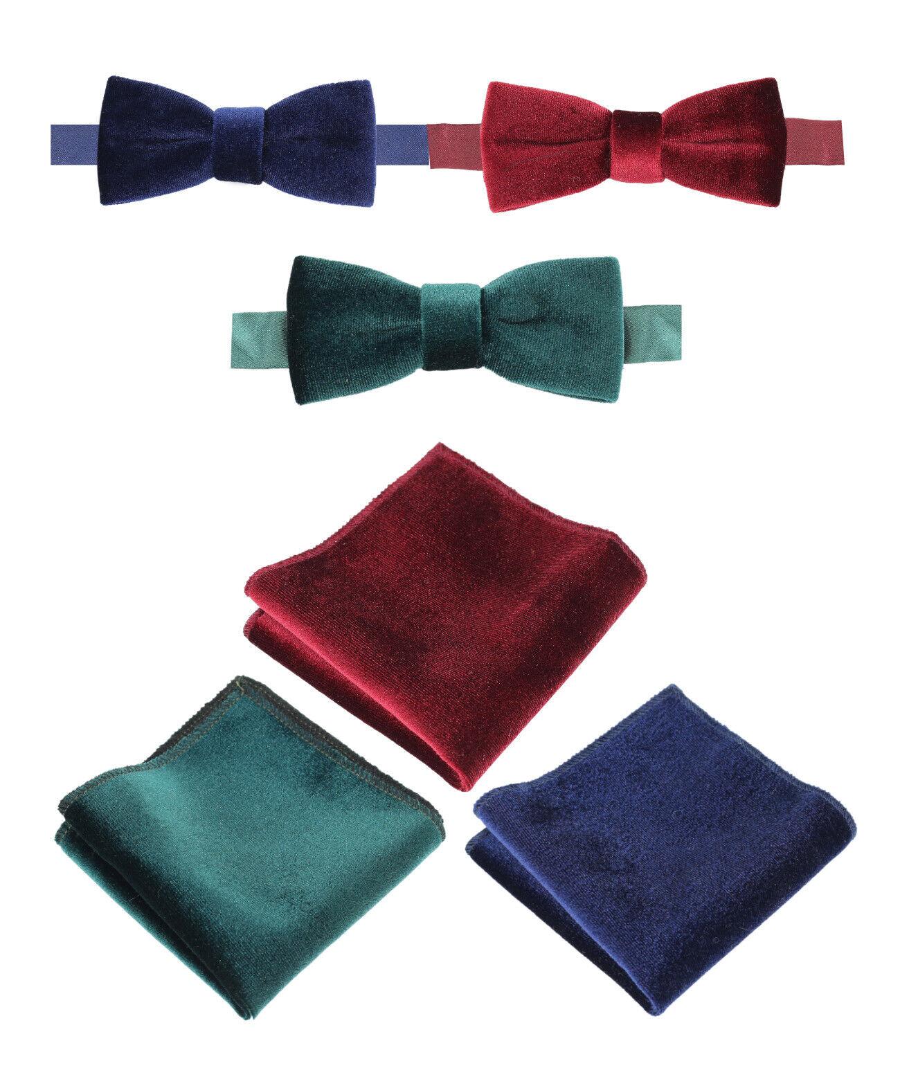 Boys Men Formal Velvet Dickie Bow Tie Hankie Pocket square Red Navy Blue Green