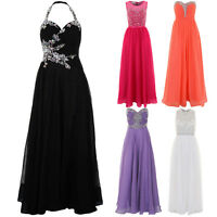 Ladies Strapless Sleeveless Jewel Chiffon Lined Maxi Prom Wedding Ball Gown