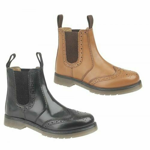 Grafters Mens Leather Brogue Air Cushion PVC Sole Comfortable Work Dealer Boots