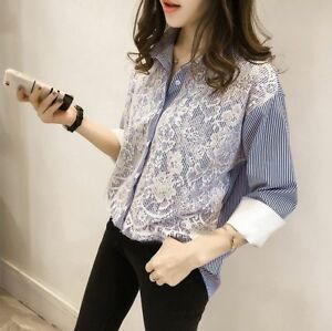 5f673876e Image is loading Korean-Womens-Lace-Button-Down-Shirt-Long-Sleeve-