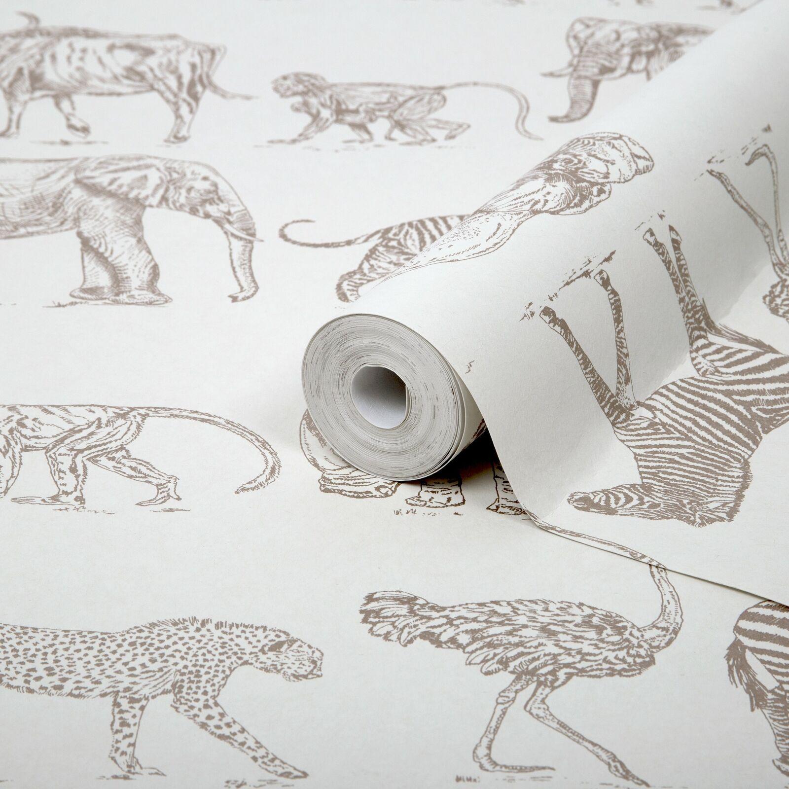Safari Animal Motif Wallpaper Cream And Metallic Rose Gold