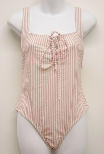 New L.A Heart x Pacsun Swim Pink Vintage Candy Stripes Swimwear One Piece S-XXL