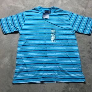 90s-VTG-NWT-STRIPED-Turquoise-Blue-T-Shirt-VAPORWAVE-White-Skate-S-Grunge-Bold