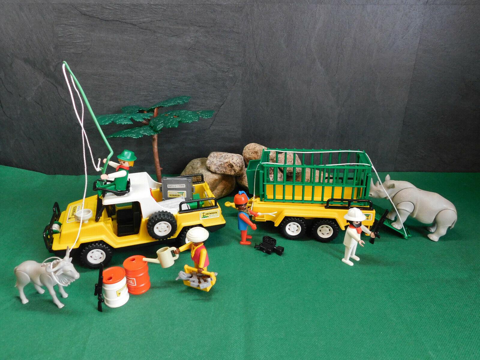 Playmobil Rarität Safari-Car 3528-A 1980 u. Safari-Anhänger 3529-A 1980 II
