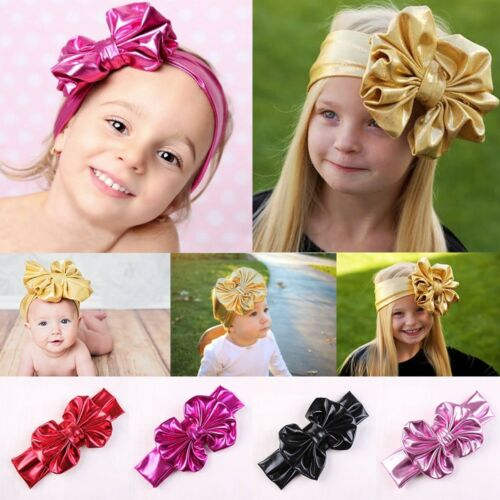 1pcs Baby Girls Solid Colors  Bowknot Big Bow Hairband Headband Turban Stretch