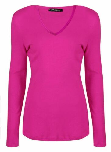 Women Basic Long Sleeve Plain V Neck Ladies Stretch Plus Size Top T Shirt UK8-26