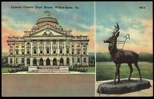 Pennsylvania-Wilkes-Barre-Luzerne-County-Court-House-1949-Linen-Postcard-pa4b