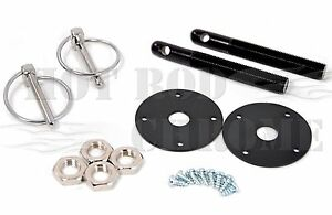 Universal-Aluminum-Hood-Pin-Latch-Bonnet-Flip-Locking-Kit-Black-Chevy-Ford-Mopar