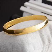 Fashion 18K GOLD Plated Oval Plain BANGLE BRACELET Solid Ladies
