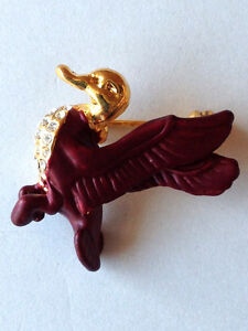 Flying-Duck-Brooch-Yellow-Gold-Plated-Metal-Lapel-Pin-Brown-Enamel-Crystal-Stone
