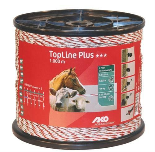 (0,08€/ 1m) AKO TopLine Plus Weidezaunlitze, Länge: 1000m, weiß/rot, 449120