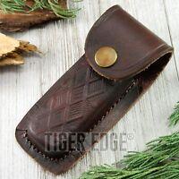 Folding Pocket Knife Sheath   4 Textured Brown Genuine Leather Belt Case