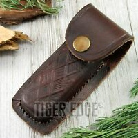 Folding Pocket Knife Sheath | 4 Textured Brown Genuine Leather Belt Case