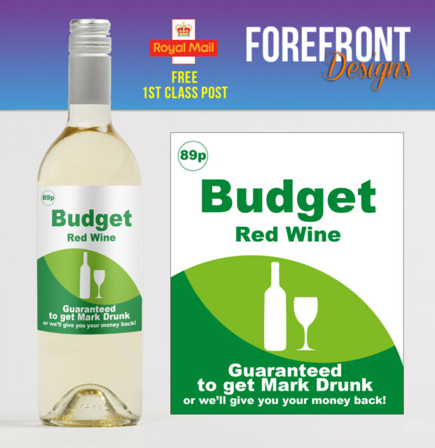 Personalised Supermarket Budget Wine Bottle Label Funny Spoof Birthday Gift