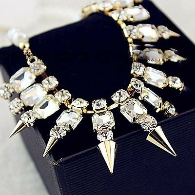Noble Collar Necklace Jewelry Crystal Rhinestone Inlay Rivet Spike Choker Chain