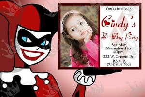 Kids Harley Quinn Birthday Party Invite Template For Boy Or Girl