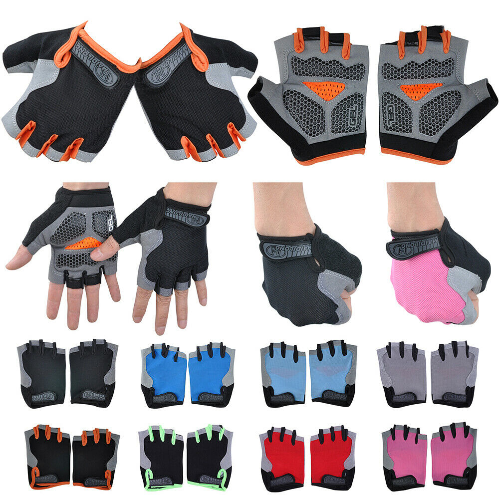 Mens Womens Bike Bicycle Cycling Half Finger Gloves GEL Silicone Pad Fingerless