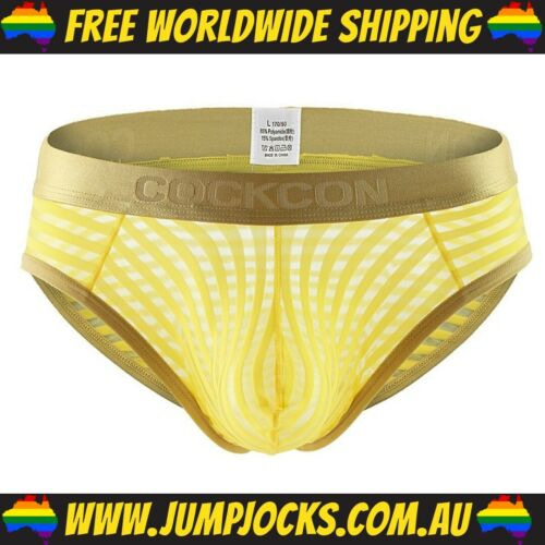 Jocks Gay *FREE SHIPPING WORLDWIDE* Underwear CockCon Yellow Mesh Briefs