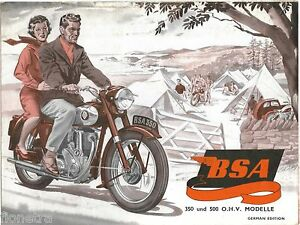 BSA-350-amp-OHV-500-MODELLE-GERMAN-EDITION-B31-B33-PROSPEKT-BROCHURE-1953