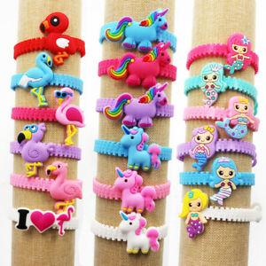 2-10X-Cartoon-Unicorn-Dinosaur-Bracelet-Bangle-Animal-Silicone-Rubber-Wristband