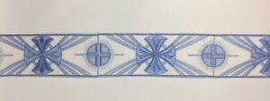 Orphrey-Vintage-Cruz-Azul-Encendido-Blanco-Vestment-Lazo-8-3cm-Ancho-Vendido-Por