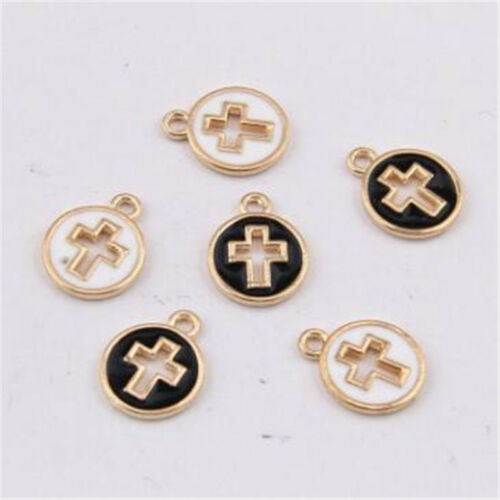 Enamel Charms Cross Tags Jewellery Making Beads Dangle Pendants Crafts  PL1451