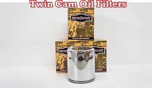 Lot of 3 Chrome 10 Micron Oil Filter Custom Chrome Harley Twin Cam Repl 63798-99