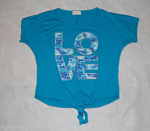 Womens Cropped Tee Shirt TURQUOISE Silver Glitter LOVE Blue Camo M 8 ... 1ee3766864