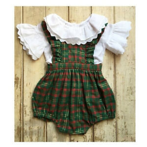 a8820b9e6 Toddler Newborn Baby Girl Plaid Lace Long Sleeve Romper Jumpsuit ...