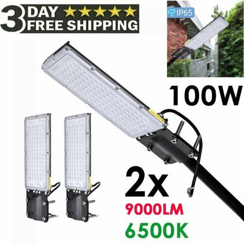 2PACK 100W LED Road Street Flood Light Garden Spot Lamp Head Outdoor Yard White