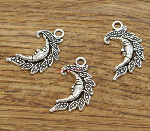 20pcs Moon Charms Moon Face Night Charms Antique Silver Tone 15x27mm 2258