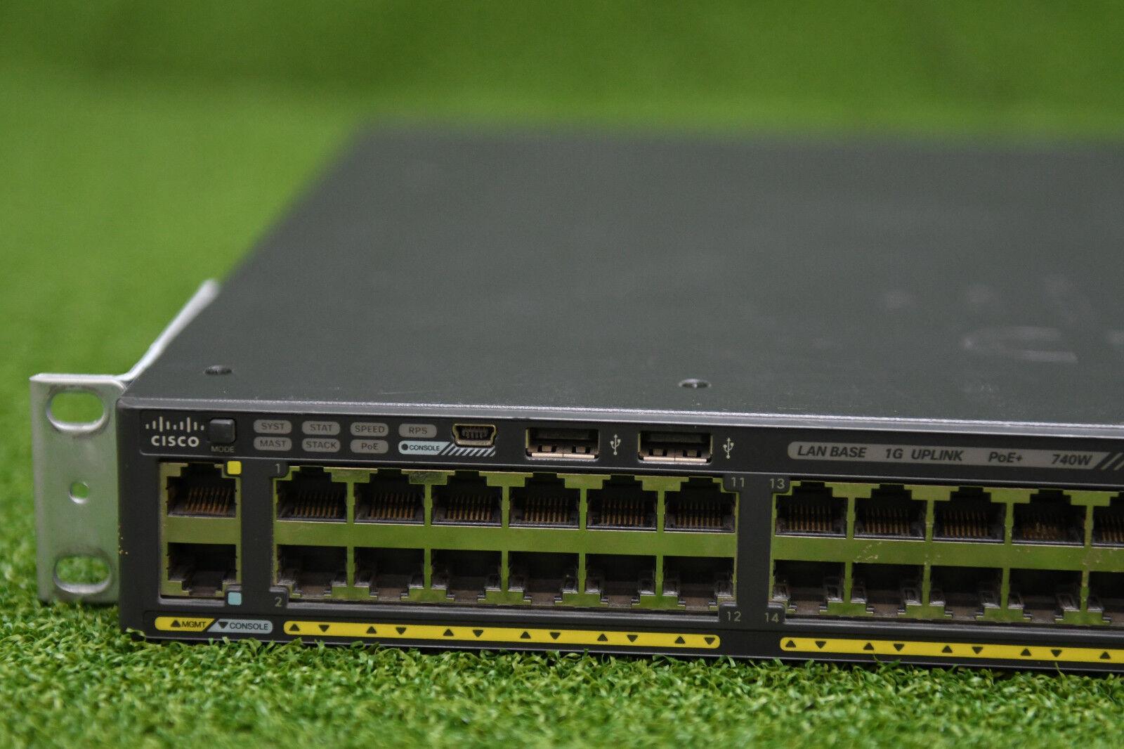 Cisco Catalyst 2960 X 48 Gige Poe 740w 1gb Ws C2960x 48fps L Ebay S Switch With Lan Base Vs Ip