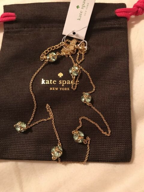 Authentic Kate spade Lady Marmalade Necklace Station Mint Gold 6 Balls Dust Bag