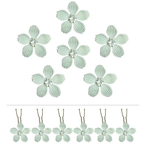 6 épingles pics cheveux chignon mariage mariée fleur métal blanc grisé cristal