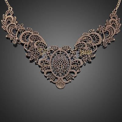 Vintage Lady Metal Flower Hollow Statement Bib Choker Chain Pendant Necklace New