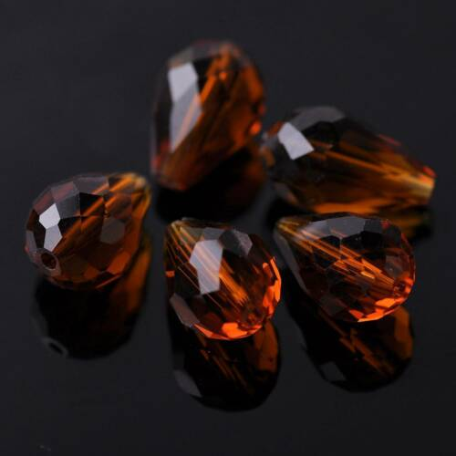 10pcs 18x12mm Faceted Teardrop Crystal Glass Loose Spacer Beads Jewelry Findings