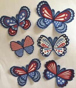 Patriotic-American-Butterflies-Iron-On-Fabric-Appliques-Red-White-Blue-USA