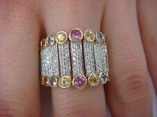 UNIQUE DIAMONDS & GEMSTONES WIDE FLEXIBLE RING 14K GOLD 10.2 GRAMS,16.5 MM WIDE