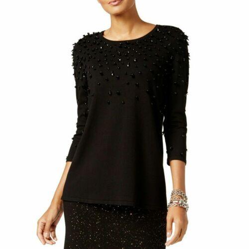Alfani Women/'s Black Embellished 3//4 Sleeve Pullover Sweater Top MSRP $99 C1511
