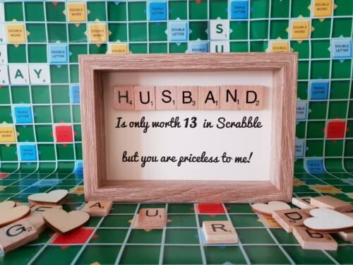 Scrabble Art Frame Husband Gift for Him Her Free P/&P Anniversary Gift Wife