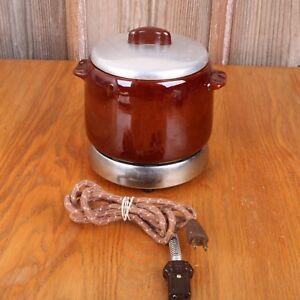 Vintage-West-Bend-2-Quart-Stoneware-Electric-Bean-Pot-amp-Heat-Rite-Base-OG-Cord